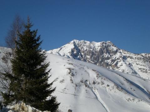 L'Arbizon enneigé, 2831m, vu du Pla d'Adet
