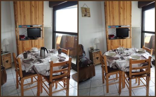 La table mise pour petit déjeuner et repas
